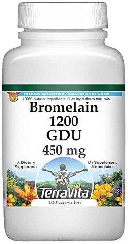 Bromelain 1200 GDU - 450 mg (100 Capsules, ZIN: 519378) - 3 Pack