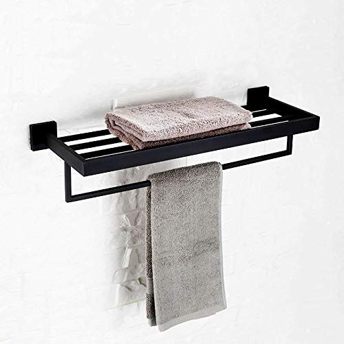 VADOLY Black Bathroom Towel Holder Double Deck Wall Mounted Towel Rack Stainless Steel Polished Blackand Chrome Plated