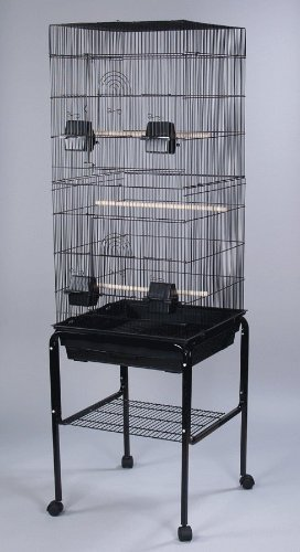 Canary Parakeet Cockatiel LoveBird Finch Bird Cage With Stand –18″x14″x55″-*Black, My Pet Supplies