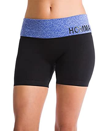 Homma Women's Compression Seamless Active Yoga Shorts Running Shorts (SMALL, BLUE/BLACK)