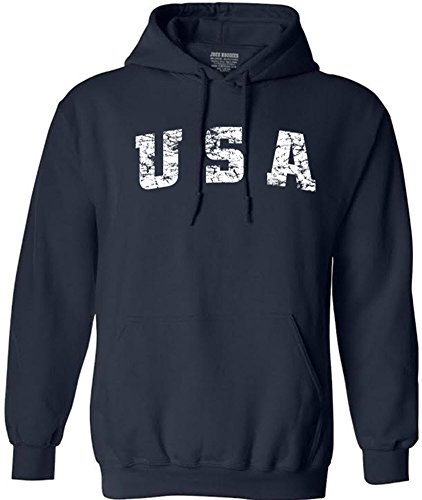 - Joe's USA tm Vintage USA Logo Hooded Sweatshirts 5X-Large Navy