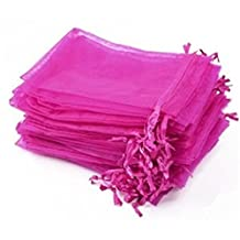 """KUPOO Lot of 50 4"""" x 6""""Drawstring Organza Pouch Strong Wedding Favor Gift Candy Bag (rose)"""