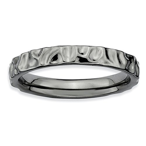 3.25 Mm Hammered Band - Stackable Expressions 3.25mm Black Plated Sterling Silver Hammered Polished Band, Size 10