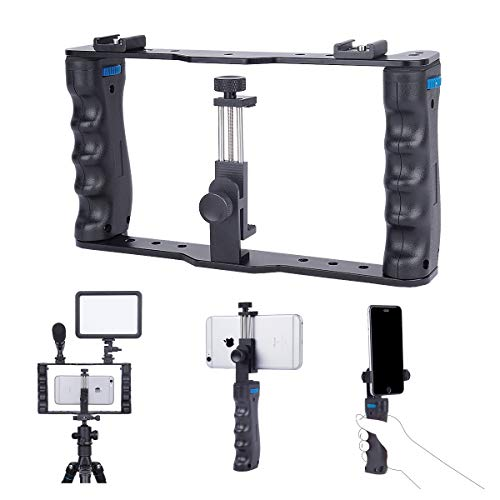 YELANGU Smartphone Video Rig Aluminum Filmmaking Recording Vlogging Rig Case,Cell Phone Movies Mount Stabilizer for Mobile Phone Film Maker Videographer for iPhone Xs Max XR X 8 7 Plus