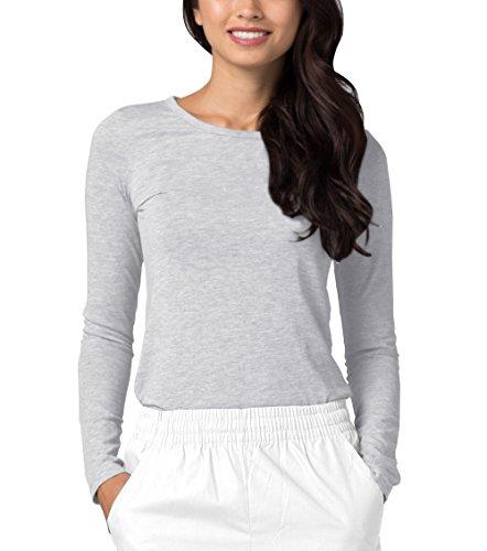 Adar Womens Comfort Long Sleeve T-Shirt Underscrub Tee - 2900 - Marl Gray - M