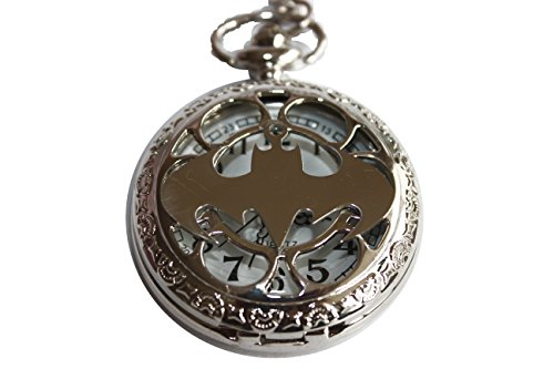 watch necklace Ancient Silver Titanium Steel Batman Pocket Mens Jewelry from watch necklace