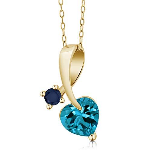 Gem Stone King 1.73 Ct London Blue Topaz Blue Sapphire 18K Yellow Gold Plated Silver Pendant