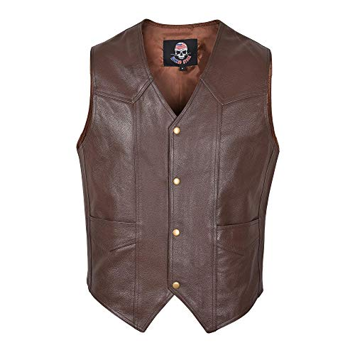 Men Motorcycle Leather Vest Classic Western Style Brown V118 (2XL) ()