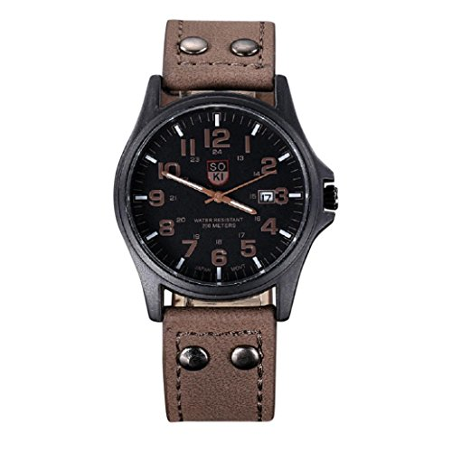 - HOT!~ Wrist watches, Men's Vintage Classic Waterproof Date Leather Strap Sport Quartz Army Watch (Brown)