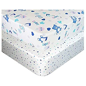 Handywa – 100% Cotton Fitted Crib Sheets Set for Baby & Toddler Bed Mattress – Blue Teddy Bear and Polka-Dot (2 Pack) – White Color for Boy and Girl Nursery – Soft, Breathable, Hypoallergenic