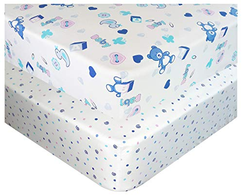Handywa - 100% Cotton Fitted Crib Sheets Set for Baby & Toddler Bed Mattress - Blue Teddy Bear and Polka-Dot (2 Pack) - White Color for Boy and Girl Nursery - Soft, Breathable, Hypoallergenic Chenille Infant Teddy Bears