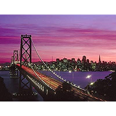 Adult 1000 Piece Jigsaw Puzzle San Francisco Bay Bridge DIY Kit Wooden Puzzle Modern Home Decor Boys Girls Unique Gift Stress Reliever: Toys & Games