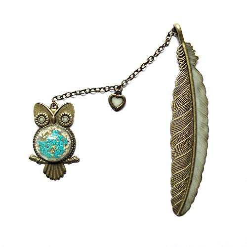 J&L House Creative Vintage Metal Brass Luminous Bookmarks Novelty Feather Bookmark Beaded with Owl Crystal Embedded Flower Handmade Gift Box Packed DIY Art Craft Accessories Gifts,Heart