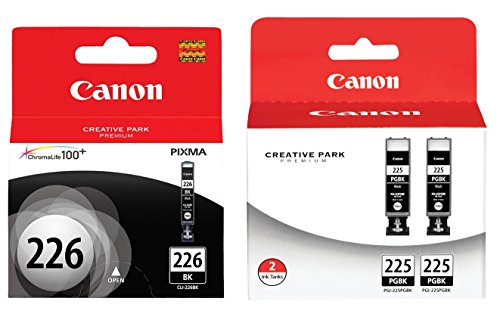 Genuine Canon PGI-225 Black Ink Cartridge Twin Pack (4530B007) + Canon CLI-226 Black Ink Tank (4546B001) (Canon Pgi 225 Black Twin Pack Ink Cartridge)