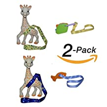 **FLASH SALE** Hnybaby Baby Toy Leash For Sophie The Giraffe or Any Other Baby Toy Stroller Strap 2 Pack x 2 (Blue/Yellow)