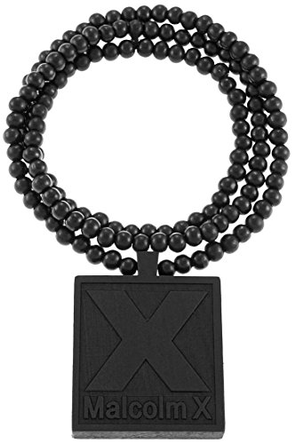 GWOOD Malcolm X Pendant Necklace All Wood With 36 Inch Long Beaded Chain Black by GWOOD