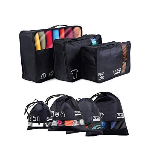 Peak Gear Travel Packing Cubes and Luggage Organizer – Cubes and Drawstring Bag Set (7 Pcs)