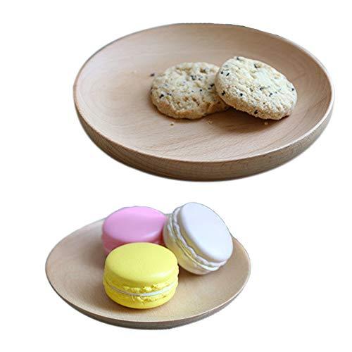 miyare(《미야레》)  접시 사라 작은 접시 큰 접시 라운드 과자 접시 쟁반 트레이 런치 플레이트 목제 식기 경량 2 개세트(S,L) (2X)