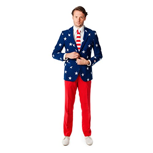 Red Suit Jacket Costume (OppoSuits Men's Stars and Stripes Party Costume Suit, Blue/Red/White, 46)