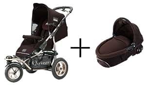 Quinny 65803440/65902760 Freestyle Set 3XL - Silla de paseo con capazo, cesto de la compra, capota, barra de seguridad, protector para la lluvia, timbre e hinchador para las ruedas (3 ruedas), color marrón