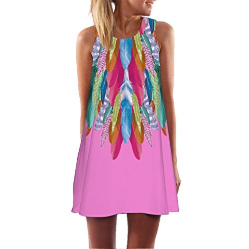 vermers Women Mini Dress Loose Summer Vintage Sleeveless 3D Floral Print Boho Tank Short (XL, Pink) by vermers (Image #3)