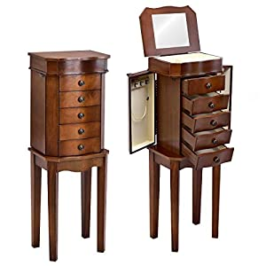 Giantex Jewelry Cabinet Armoire Box Wood Embedded Mirror Necklace Storage Chest Stand Organizer