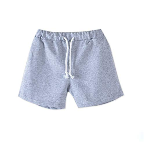 ANJUNIE Summer Children Performance Shorts Boy Girl Candy Colors Casual Shorts Elastic Waist Pants Clothes(2-Gray,110)