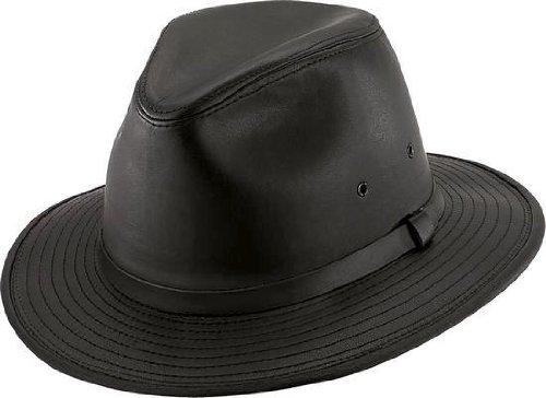 Lined Fedora - Henschel Hats SAFARI Smooth Garment LEATHER Lined Fedora Hat Black (Medium)