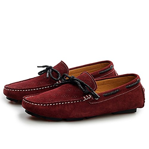 Minitoo Mens Casual, Komfort, Loafer Suede Boat Shoes Fashion-Mokassin Weinrot