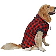 pawz road large dog plaid shirt coat hoodie pet winter clothes warm and soft red l - Large Dog Christmas Outfits