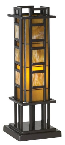 Prairie Style 20'' High Pillar Accent Table Lamp by Robert Louis Tiffany