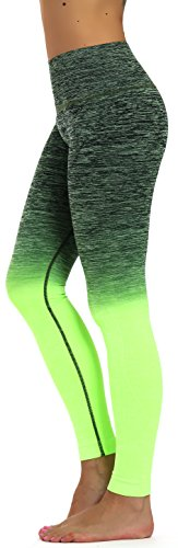 Price comparison product image Prolific Health Fitness Power Flex Yoga Pants Leggings - All Colors - XS - XL (Small (US Size 2-4), Army/Neon Green Ombre)