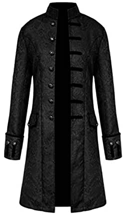 Mens Vintage Tailcoat Goth Long Steampunk Formal Gothic Victorian Coat 1 XS