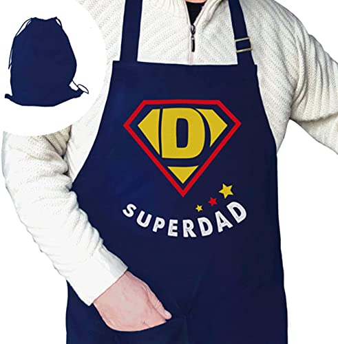 Funny Kitchen Apron for Fathers Day -Cooking – Grilling – Chef – BBQ – Gift Wrapped Dads Birthday – 100% 240 gr Cotton…