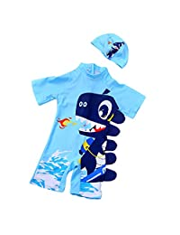 Sunscreen Bathing Suit Rash Guards with Hat Kids Summer Beach Swimwear Runola Baby Boy Swimsuit Cartoon Dinosaur UPF 50