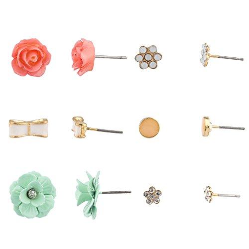 - Lux Accessories Crystal Floral Flower Rose Bow Multiple Stud Earrings Set
