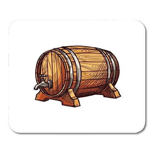 Semtomn Mouse Pad Wooden Barrel of Beer Wine Sketch Old Oak Keg Mousepad 9.8
