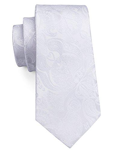 Barry.Wang White Ties Paisley Neckties Business Tie Flower Neckties Casual Neck Tie Design