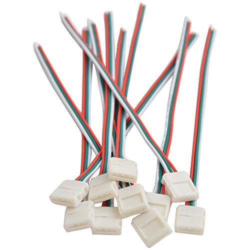 Mokungit 10/100pcs 3Pin 10mm Wide with 15cm Long Cable LED Strip Solderless DIY Connector Adapter Conductor for WS2811 WS2812B SK6812 LED Flexible Strip Light (10pcs Single End)
