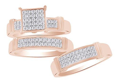 Princess Shape White Natural Diamond Trio Wedding Ring Set In 10k Rose Gold (0.50 Ct) Ring Size-12.5