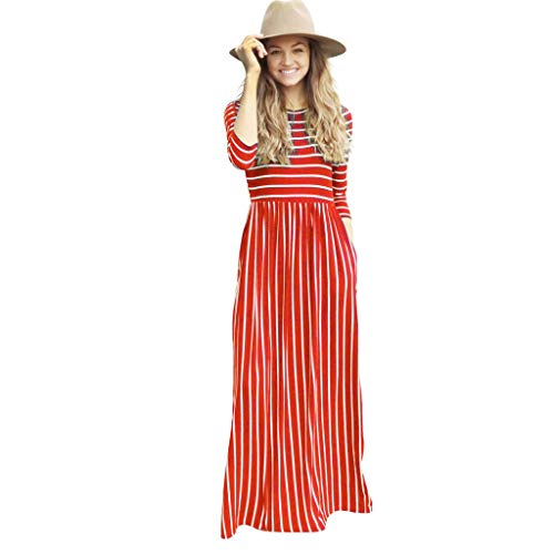TIFENNY Daily Wear Long Dresses for Women Crewneck Long Sleeve Pinstripe Printed Tops Casual Pockets Beach Maxi Dress Red