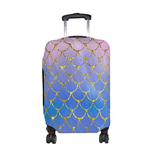 ALAZA Rolling Luggage Cover Purple Mermaid Scales Marble Fish Light Summer Gold Travel Case Suitcase Bag Protector 18-32 Inch by ALAZA