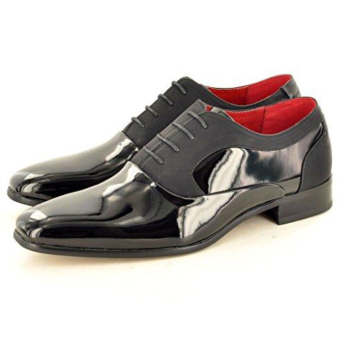 Herren Funky Patent Glänzend Zank Gatsby Spitze bis Vintage Schuhe Black/ Black