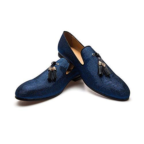 Men's Vintage Velvet Metal Loafers Shoes Slip-on Loafer Smoking Slipper (11.5 D (M) Us, Blue)