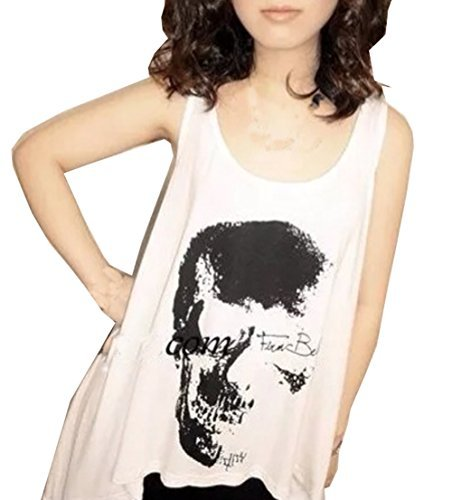 Voglee Women Vintage Punk Style Skull Open Back Tassel Tank Top Vest (One Size, White) Punk Rock Vests