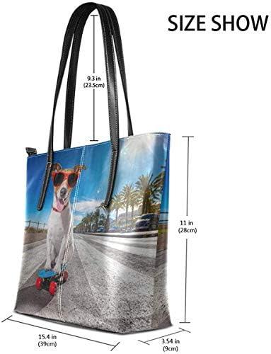Leder Tasche Laptop Tote Bag Funny Dog Standing On A Skateboard Large Printed Shoulder Bags Handbag Pu Leather Zipper Tote Handle Satchel Purse Lightweight Work Tote Bag