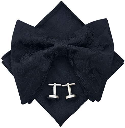 Mens Pre-Tied Paisley Bowtie Oversized Tuxedo Bow Tie Hankie Cufflinks Set (Black) ()
