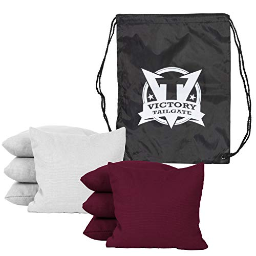 Victory Tailgate 8 Colored Corn Filled Regulation Cornhole Bags with Drawstring Pack (4 Burgundy, 4 White) by Victory Tailgate (Image #1)