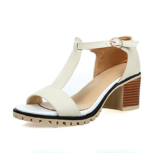 BalaMasa Womens Sandals Solid Smooth Leather Road Urethane Sandals ASL04456 Apricot hKWOZ1mB