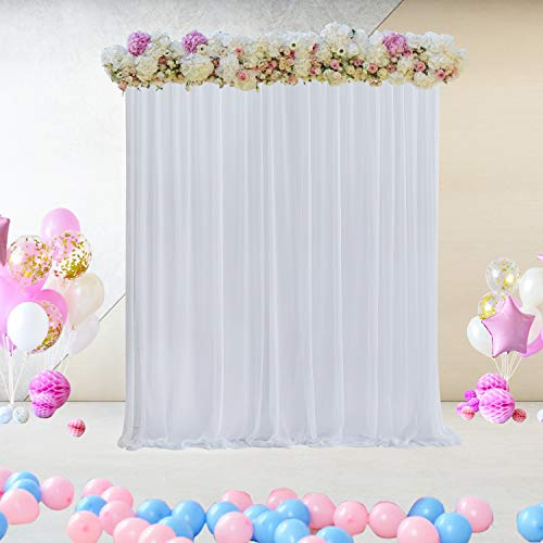 White Tulle Backdrop Curtain for Parties Wedding Birthday Baby Shower Decorations Background for Photo Booth 5 ft X 7 ft
